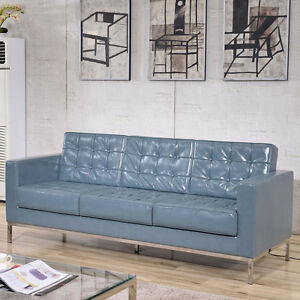 Mid centur y Classic Lacey Series Lounge Office Sofa In Gray Leathersoft