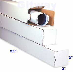 50 25x2x2 Long White Corrugated Cardboard Packaging Shipping Tubes Box Boxes
