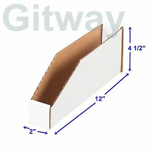 50 2 X 12 X 4 1 2 Corrugated Cardboard Open Top Storage Parts Bin Bins Boxes