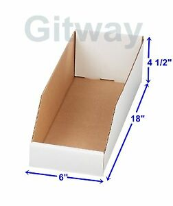 50 6 X 18 X 4 1 2 Corrugated Cardboard Open Top Storage Parts Bin Bins Boxes