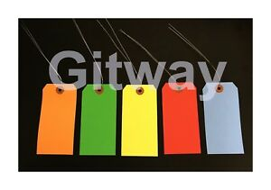 1000 Of 4 3 4 X 2 3 8 Size 5 Colored Inventory Shipping Hang Tags With Wire