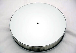 New Chrome Aluminum 14 X 3 Smooth Round Air Cleaner Ford Chevy Mopar Flat Base