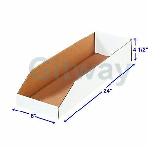50 6 X 24 X 4 1 2 Corrugated Cardboard Open Top Storage Parts Bin Bins Boxes