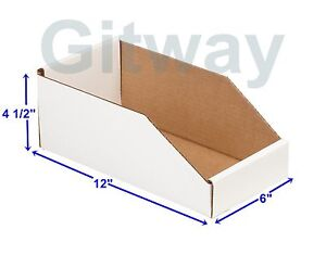 50 6 X 12 X 4 1 2 Corrugated Cardboard Open Top Storage Parts Bin Bins Boxes