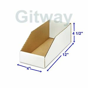 50 4 X 12 X 4 1 2 Corrugated Cardboard Open Top Storage Parts Bin Bins Boxes