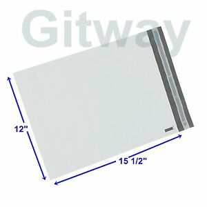 500 12 X 15 White Poly Bag Plastic Mailers Shipping Envelopes Self Seal Bags