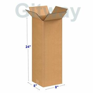 25 Pack 8x8x24 Tall Long Corrugated Cardboard Shipping Mailing Box Boxes 24x8x8