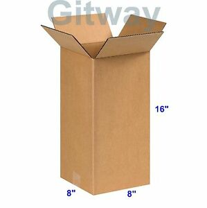 25 Pack 8x8x16 Tall Long Corrugated Cardboard Shipping Mailing Box Boxes 16x8x8