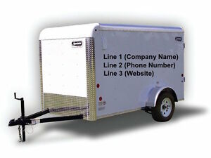 2 Simple Small Trailer Vinyl Lettering Decal Sticker Business Signs