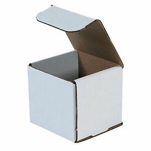 50 4x4x4 White Corrugated Carton Cardboard Packaging Shipping Mailing Box Boxes