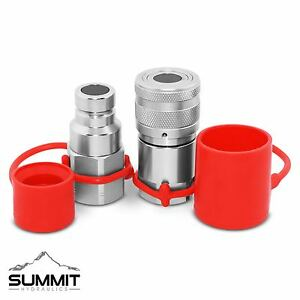 Flat Face High Flow Hydraulic Quick Disconnect Coupler Set 3 4 Body X 3 4 Npt