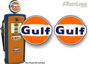 2 Gulf Gasoline Vintage Gas Pump Decals Pumps Motor Oil Gas Station Sign Sticker