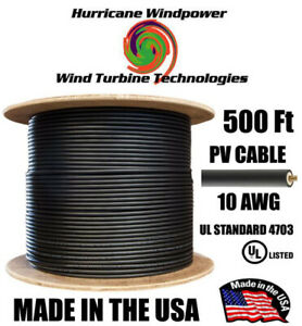 Pv Cable 1000v Black Solar Pv Wire mc4 Compatable 10awg 500ft Double insulated