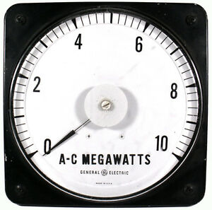 Vtg General Electric 9 t Panel Board Type A c Megawatts Electric Ammeter Gauge