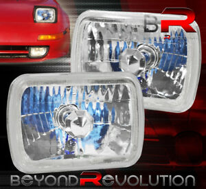 Fit For 7x6 H4 White Halo Sealed Beam Headlights Head Lamps Chrome Clear Lights