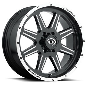 New set Of 4 20x9 Vision 421 Cannibal 6x139 7 12 Offset Black Machined