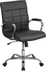 Mid back Black Vinyl Executive Swivel Office Chair With Chrome Arms