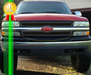 Fits 2001 2002 Chevy Silverado 2500hd 3500 Stainless Black Mesh Grille