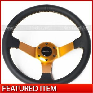 Circuit Performance Cp350 Deep Dish Steering Wheel Gold Stitch 350mm Fits Nrg