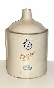 Red Wing 5 Gallon Jug Union Stoneware Co Redwing Mn 4 Inch Wing 2 Inch Oval