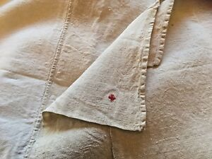 Antique 2 Toned French Linen Bed Sheet Upholstery Fabric