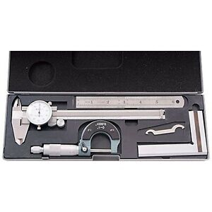 Brand New Hhip 4902 0004 4 Piece Machinist s student s Kit With 6 Dial Caliper
