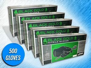 500 Black Gold Black Nitrile 4 Mil Industrial Gloves choose Size