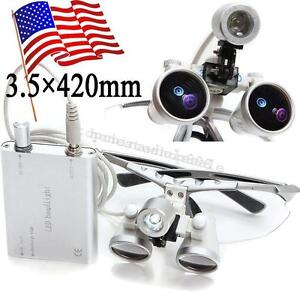 U Silver Dental Surgical Loupes 3 5x 420mm Optical Glass And Led Head Light Lamp