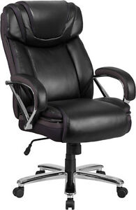 Big Tall 500 Lbs Capacity Black Leather Executive Office Chair Extra Wide Seat