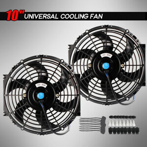 2 X 10 Inch Universal Slim Fan Push Pull Electric Radiator Cooling Mount Kit