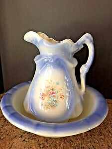 Vintage Victorian Style Transfer Ware Pitcher Bowl Set