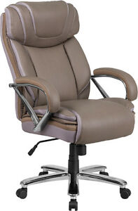500lb capacity Big Tall Taupe Leather Executive Office Chair W extra Wide Seat