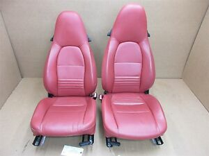 99 Boxster Rwd Porsche 986 L R Red Leather 2 Way Seats Driver Passenger 24 463