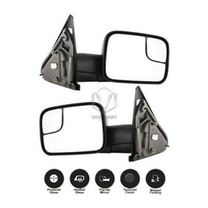 Dodge Ram 1500 2500 3500 Towing Mirrors Pair Power Heated Flip up Black 2002 08