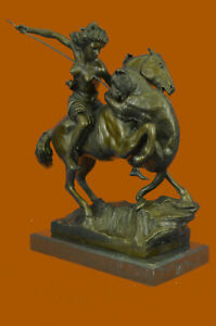 Nude Warrior Girl Horse Handcrafted Marble Base Art Bronze Sculpture Figure T