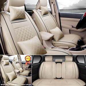 Us Car Beige Pu Leather Seat Covers L Size 5 seat Suv Front rear free Pillow Set