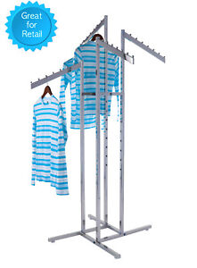 4 way Clothing Rack Slant Arms Adjustable Made Of Chrome Rectangular Tubing