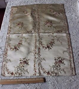 Antique French 18thc 1700s Silk Chenille Roses Ribbons Brocaded Fabric Sample