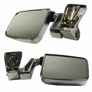 Chrome Manual Side View Door Mirrors Left Right Pair Set For 87 02 Jeep Wrangler