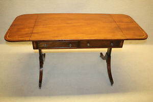 Great English Regency Style Kittinger Mahogany Drop Leaf Sofa Table W 2 Drawers