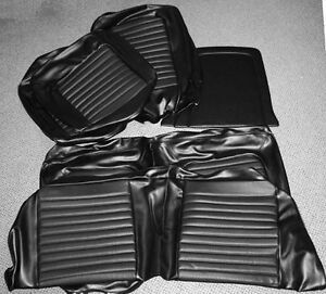 New 1964 1965 Ford Mustang Seat Covers Upholstery Buckets Black Coupe Full Set