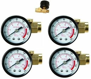 4pc Inline Air Pressure Regulator With Gauge Solid Brass Construction 160 Psi