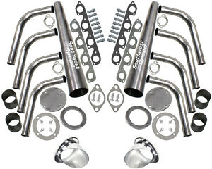New Sbf Lake Style Header Kit 351 Cleveland 2 Barrel 2v 351c 4 Ceramic Turnouts