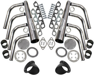 New Sbf Lake Style Header Kit 351 Cleveland 4 Barrel 351c 3 1 2 Black Turnouts