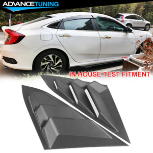 For 16 20 Honda Civic Sedan Rear Quarter Panel Side Window Louvers Vent Pair Abs