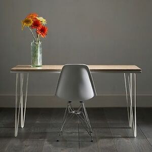 Sleek Hairpin Desk In Distressed White Oak 3 Sizes 10 Colours 30 Options