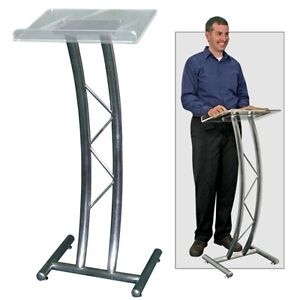 Metal Curved Truss Lectern W acrylic Top