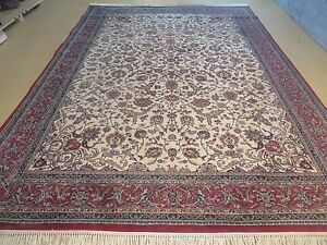 8 X 11 Vintage Machine Made Belgium Rug Synthetic Wool Kurdamir Kashan Ivory