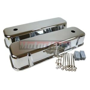 Bbc Chevy 454 Chrome Aluminum Tall Valve Covers Smooth Plain Big Block 396 502