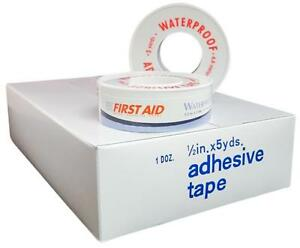 First Aid 1 2 X 5 Yds Waterproof Adhesive Tape 48 Rolls By Awc Ms15100